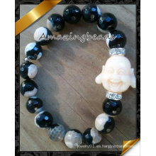 La ágata del fuego rebordea la joyería Wite Buddha encanta la pulsera de la manera (CB072)