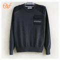 100% Cotton Fashion Elbow Patches Pullover Sweater Man