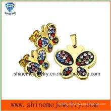 Shineme joyería de acero inoxidable de chapado en oro joyería establece pendiente con colgante (ERS7093)