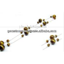 Редкие Маленькие Круглые Драгоценный Камень Бисером Цепочка, Оптовая Изготовление Ювелирных Изделий Безель