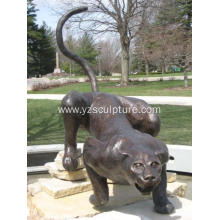 Life Size Brass Leopard Animal Statue