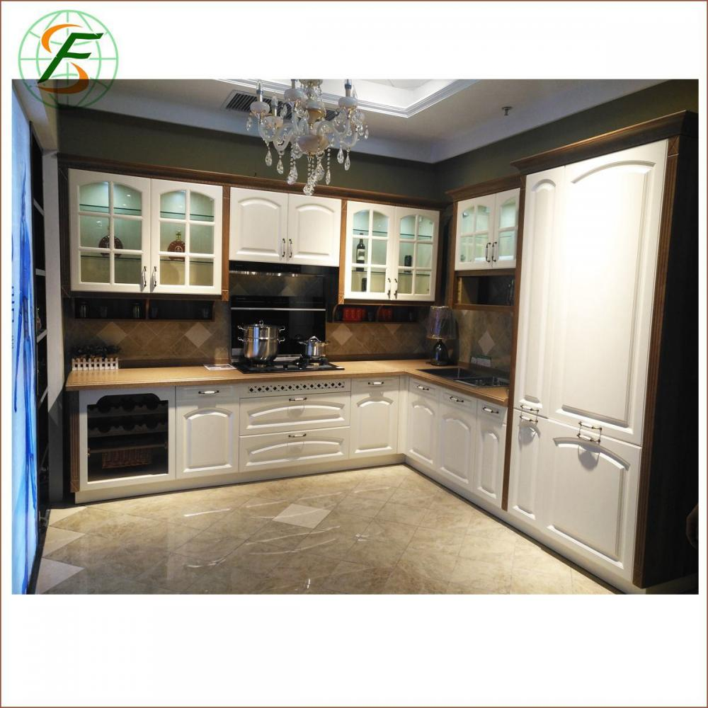 High Quality Luxury Pvc Door High Glossy Lacquer Solid Wood Kitchen Furniture 2
