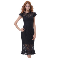 Belle Poque Retro Vintage Cap Sleeve Round Neck Hips-Wrapped Lace Mermaid Dress BP000375-1