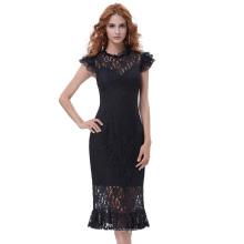 Belle Poque Retro Vintage Cap Sleeve Redonda com pescoço em forma de quadril vestido de sereia com renda BP000375-1