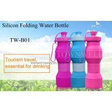 4 Capacidades en 1 botella de agua plegable de silicona
