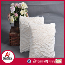 Stripe brushed fake fur cushion, solid fake fur cushion with filling, fashionable cushion factory