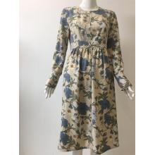 Printed Polyester Long Sleeve Dress