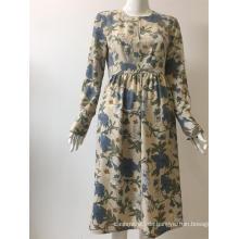 Langarmkleid aus bedrucktem Polyester