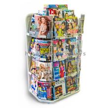 Loja de livros Contador de topo Cartão de felicitações baratas Venda por atacado Metal Entertainment Magazine Display Racks
