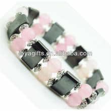 Bracelet de l'amplitude de l'hématite magnétique avec des billes rondes alliage et 8MM Rose Quartz