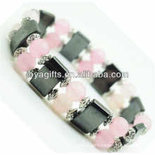 Magnetic Hematite Space Bracelet with alloy and 8MM Rose Quartz Round Beads
