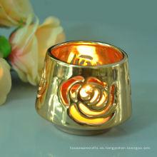 Candelero de cerámica de la vela del té