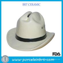 Man′s Cowboy Hat Shaped Ceramic Piggy Bank New Gift