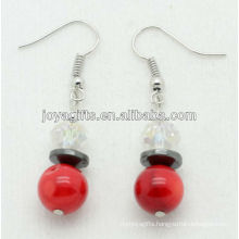 Wholesale red coral with white crystal ball earring