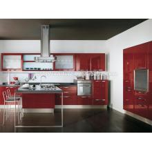 Fábrica avançada de máquinas alemãs diretamente móveis de cozinha em laca vermelha