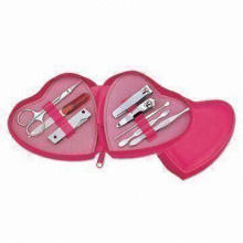 8-in-1 Manicure/Pedicure Set with Heart PU Leather Pouch and Big Logo Space on Pouch