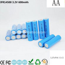 3, 2V 600mAh AA Size Batteries rechargeables au Lithium