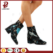 Printing ankle short fabric boots for women