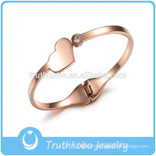 Bangle Designer Fashion Fancy High Quality Lovely Heart Pendant Plain Stainless Steel Screw Bangle Design for Womens