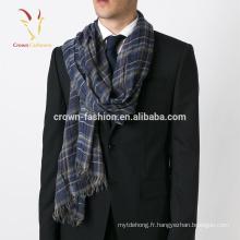 Écharpe imprimée en soie bleu long mélangé