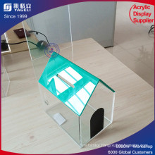 Specialized Factory House Shape Acrylic Donation Box with Lock