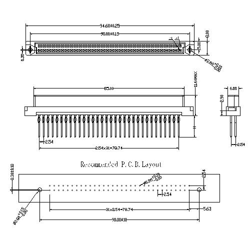 Vertical Female Type B Compliant press-Fit Connectors 64 Positions