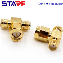 STA Brass SMA Female to Male to Female T type SMA TEE Adapter