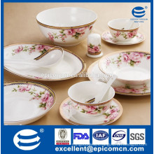 gold and flower decorated magnesia porcelain dinner set