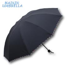 Promotionnels Cadeaux Populaire Mode Protection Portable Manuel Ouvert Solide Classique Couleur Pas Cher Grand Noir Mini 3 Fold Parapluie Hommes