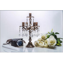 Bronze Clolor Wedding Decoration Bougeoir en verre avec Five Poster