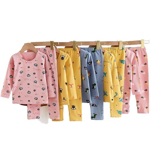 Boys Girls Unisex Pattern Long-sleeved Cotton Nightwear Pajamas Set