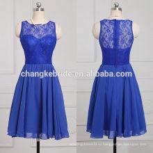 Популярные Королевский синий невесты платье без рукавов шифона платье невесты до колен кружева платья невесты