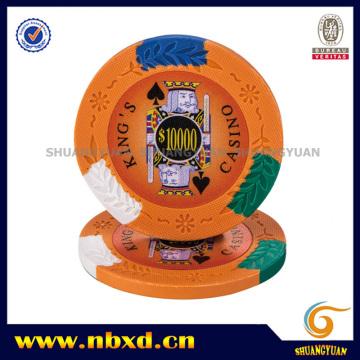 14G 4-Tone King's Casino Clay Poker Chip avec des autocollants personnalisés