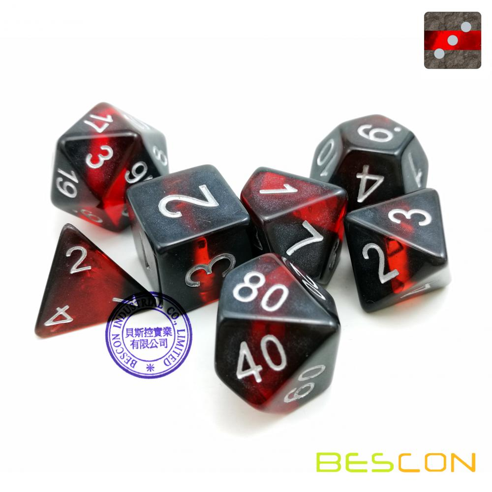 Bescon Mineral Rocks GEM VINES Polyhedral D&D Dice Set of 7, RPG Role Playing Game Dice 7pcs Set of RUBY