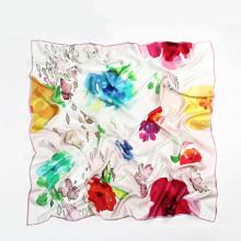 Lenço quadrado de seda quadrada 110 * 110cm para mulheres