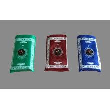 Waterproof Maroon, Blue, Green Muslim Pocket Prayer Mat Carpet With Qibla Locator Compass