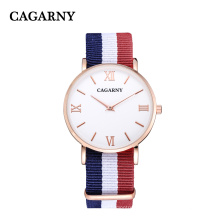 Fabric Nylon Wristwatch Gold Case Stainless Steel IP Plated Buckle