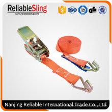 Correa de amarre de trinquete personalizada de 25 mm con ganchos de alambre