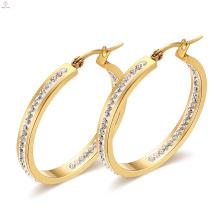 Gold Plating Stainless Steel Crystal Earrings, Fashion Designs 316L Steel Hoop Crystal Earring