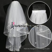 corto 2 capas de marfil velo de la boda con cuentas