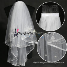 short 2 layers ivory wedding veil with beads