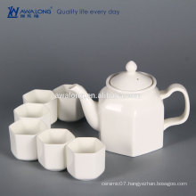 China Factory 6 person White Fine Hexagon Fine Ceramic Chinese tea set