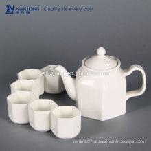 China Fábrica 6 pessoas White Fine Hexagon Fine cerâmica chá chinês set