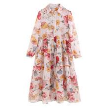 Camisa de manga longa feminina estampada vestido barato