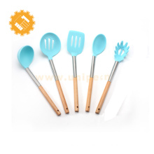 5 pieces set premium silicone kitchen utensils with wooden handle
