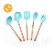 5 peças conjunto de utensílios de cozinha de silicone premium com cabo de madeira