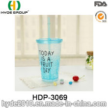 16oz BPA freiem Kunststoff Zitrone Saft Tasse mit Stroh (HDP-3069)