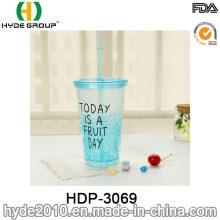 16oz BPA libre taza de jugo de limón plástico con pajita (HDP-3069)