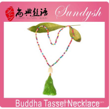 Buddha Jewelry Handmade Boho Style Colored Bead Tassel Necklace Buddha Necklace
