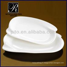 Usine de porcelaine P & T, plaques rectangulaires durables, plaques de viande de porcelaine